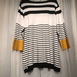 ☘️ Avenue knit top black white stripes buttons